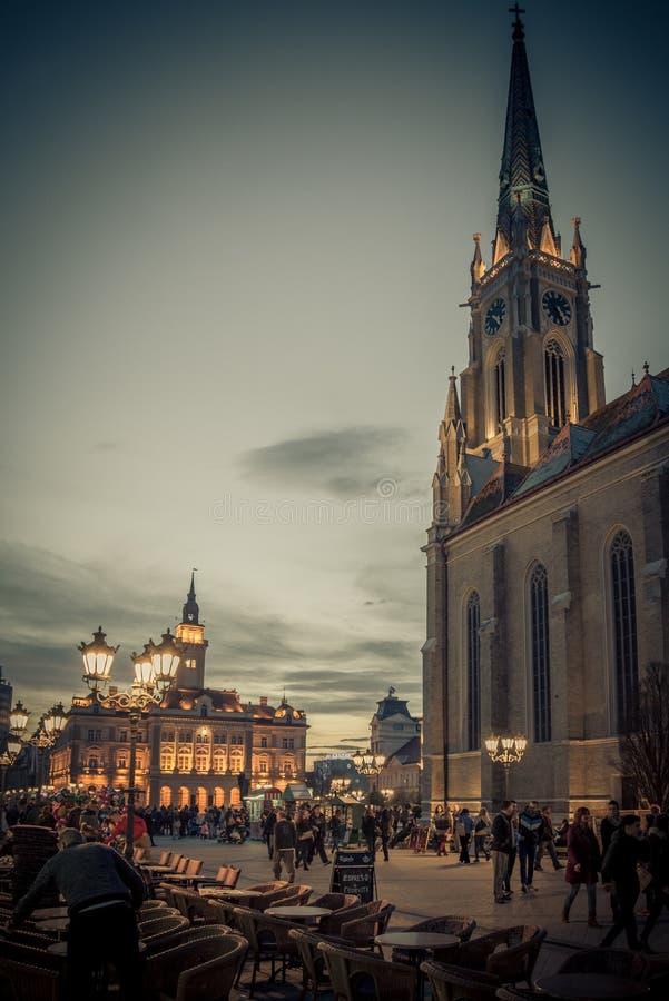 Novi Sad gammal stadmitt arkivbilder