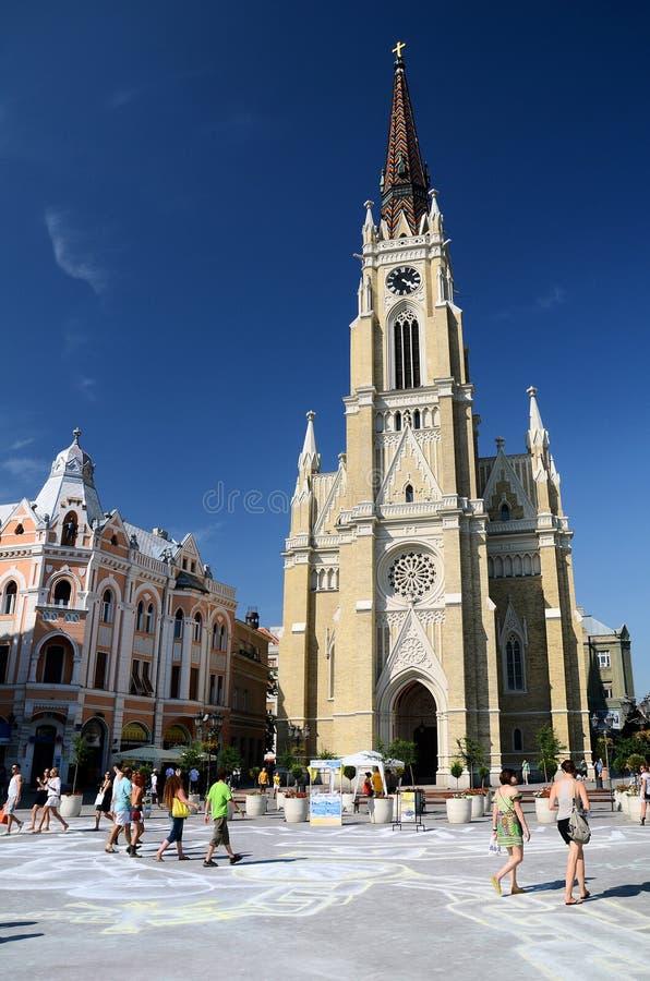 Novi Sad - de Naam van Mary Cathedral royalty-vrije stock foto's
