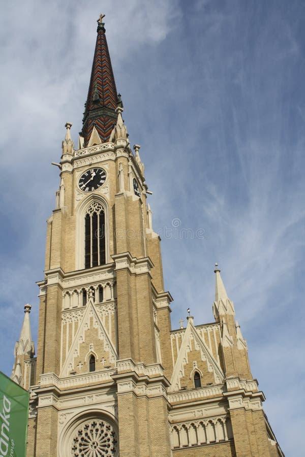 Novi Sad, 05 01 2018 - imię Maryjny kościół jest Rzymskokatolickim farnym kościół w Novi Sad obraz stock