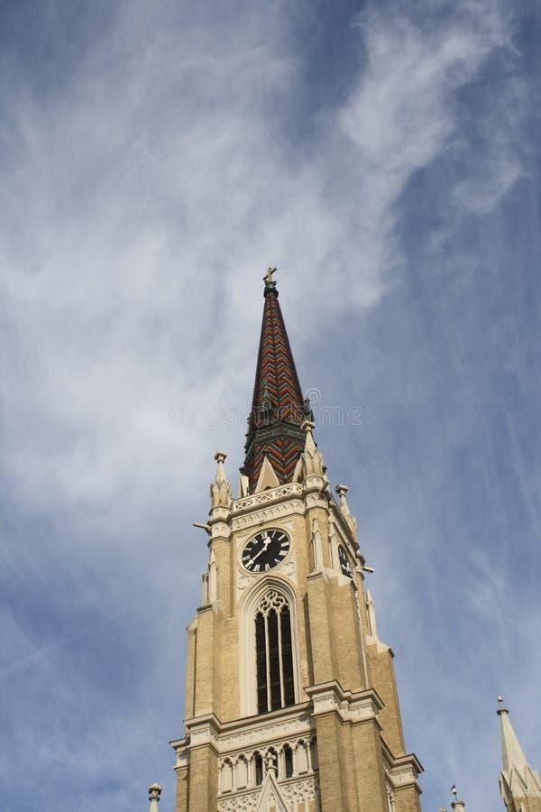 Novi Sad, 05 01 2018 - imię Maryjny kościół jest Rzymskokatolickim farnym kościół w Novi Sad zdjęcia stock