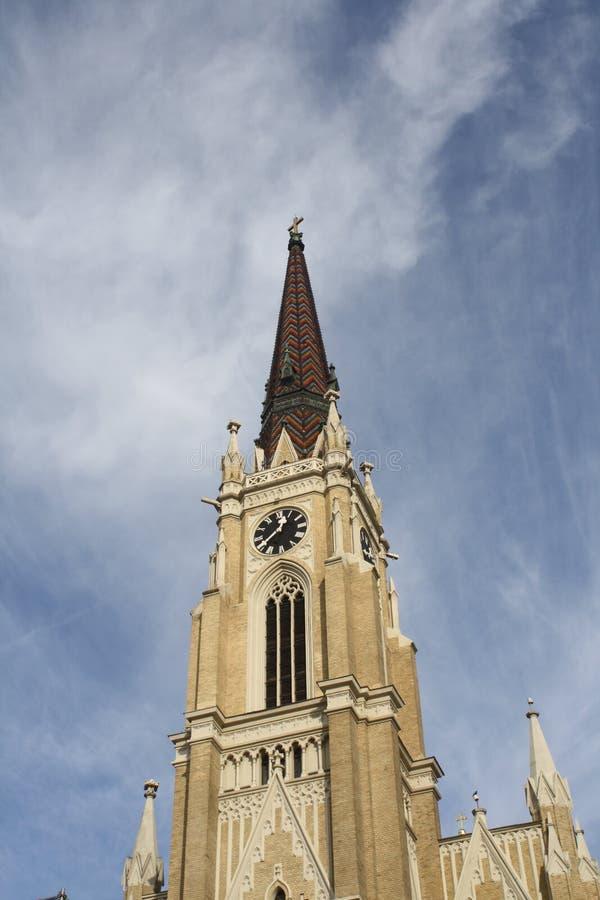 Novi Sad, 05 01 2018 - imię Maryjny kościół jest Rzymskokatolickim farnym kościół w Novi Sad obrazy stock
