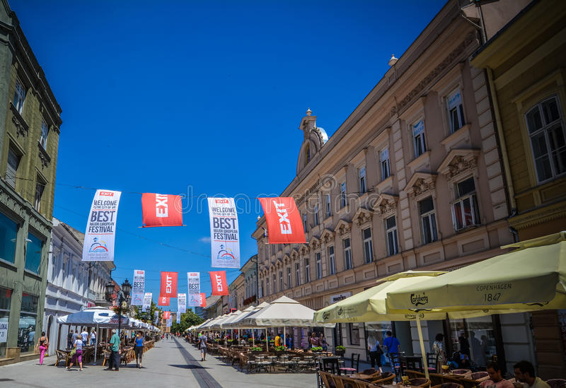 Novi Sad old town center stock photo
