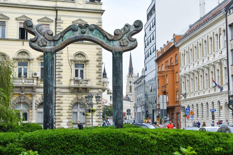 Novi Sad/Serbe - 06 05 2019: Serbisches Nationaltheater lizenzfreie stockbilder