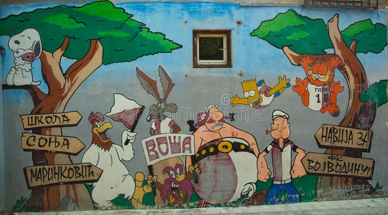 NOVI SAD, SERBIA - August 21st 2018- graffiti on wall in school with various cartoon characters royalty free illustration