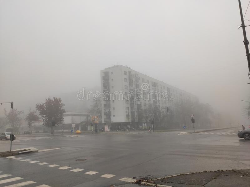 Novi Sad Serbia city centre in fog stock photos
