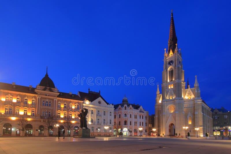 Novi Sad in Serbia at dawn. Neogothic cathedral of the city of Novi Sad in Serbia at dawn stock photography