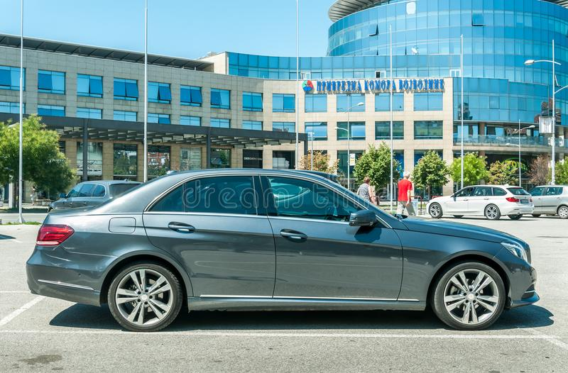 New Mercedes Benz E 350 class 4matic parked on the street. stock photography