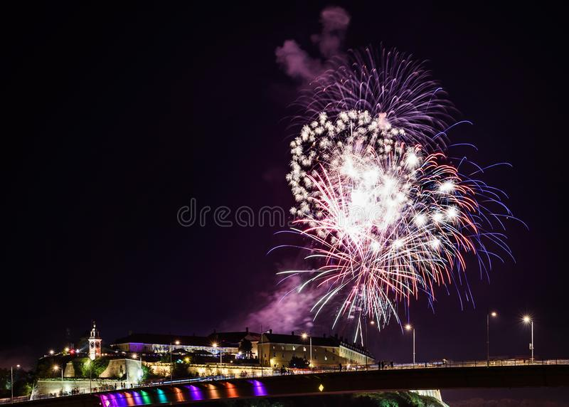 Novi Sad /Serbia - July 12th 2018: Fireworks on opening night of Exit Music Festival stock photos