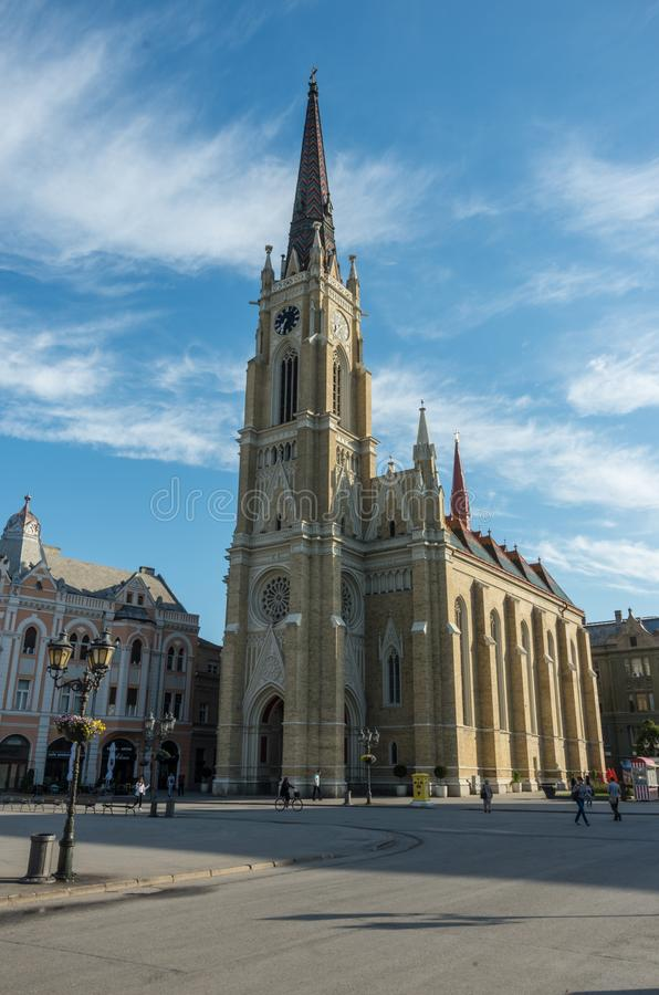 View of cathedral Katolicka Porta in Liberty Square Trg Slobode stock photography