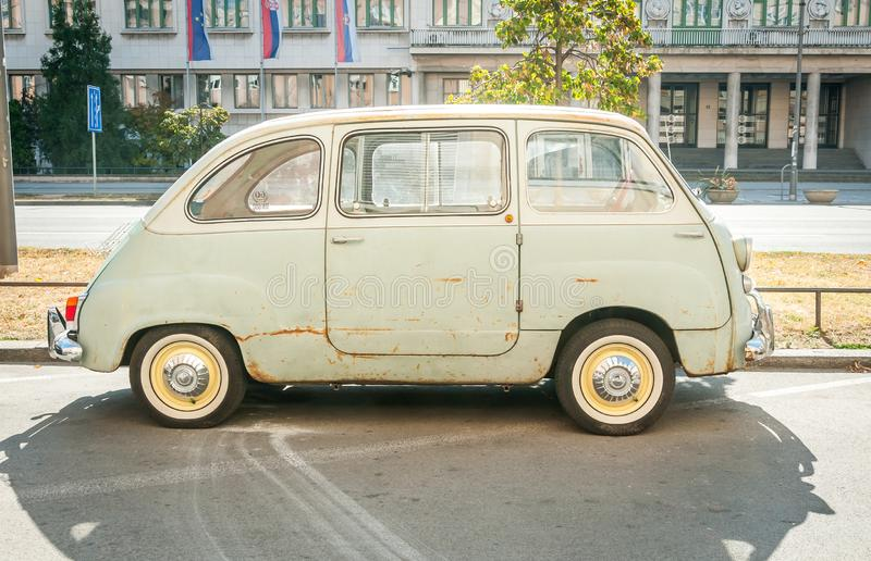 Novi Sad, Serbia. October - 14. 2018. Old timer vintage Fiat 600 Multipla car produced from 1956 to 1969 parked on the street in t stock photography
