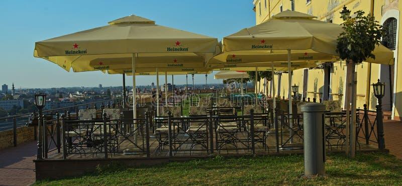 NOVI SAD, SERBIA - September 21st 2018: Outside restaurant on Petrovaradin fortress royalty free stock photo