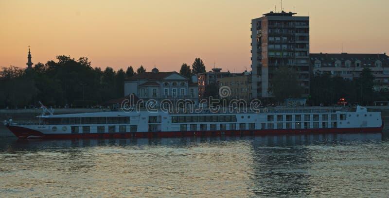 NOVI SAD, SERBIA - September 21st 2018 - River cruiser boat anchored at Danube pier royalty free stock images