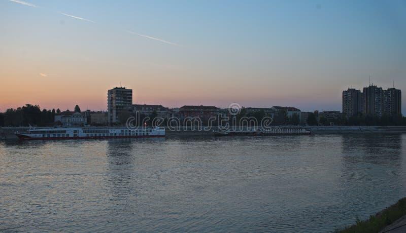 NOVI SAD, SERBIA - September 19th 2018 - View at Danube and City of Novi Sad pier with boats stock images