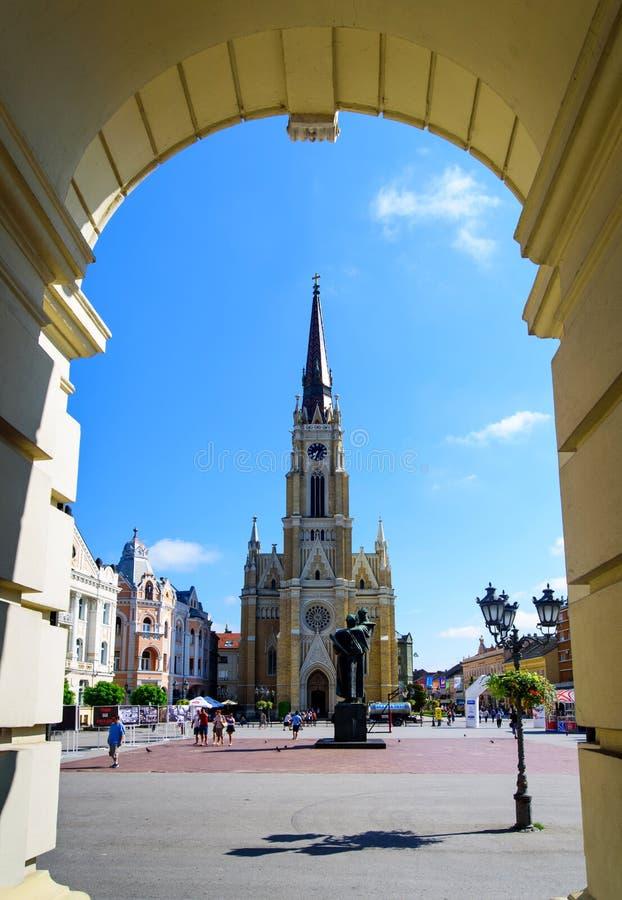 Novi Sad Serbia, Sierpień, - 15, 2018: Novi Sad pieszy i obraz royalty free