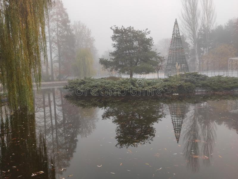 Novi Sad Serbiens vinterstrand i Donauparken royaltyfri fotografi