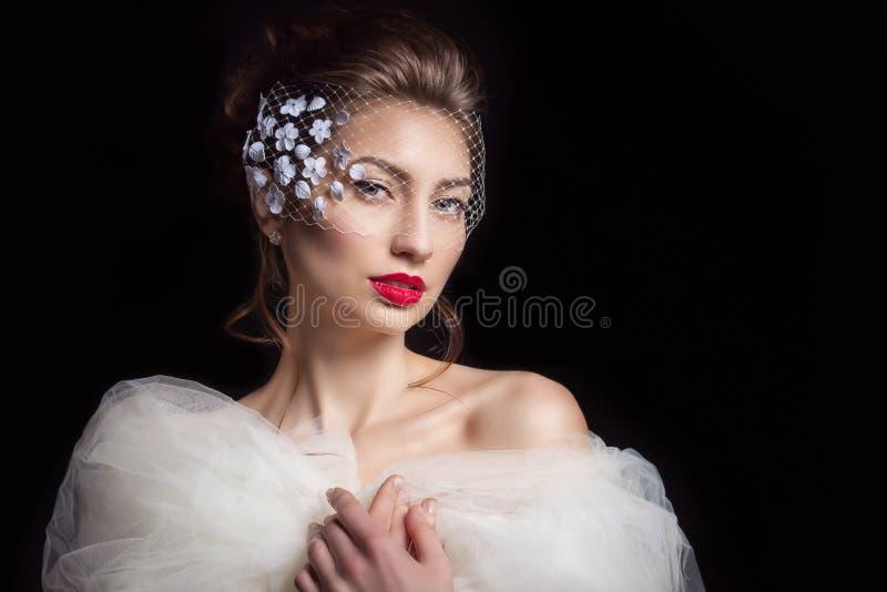 Novia atractiva hermosa de la mujer elegante con el lápiz labial rojo con un peinado elegante hermoso con velo en colores en la c fotos de archivo