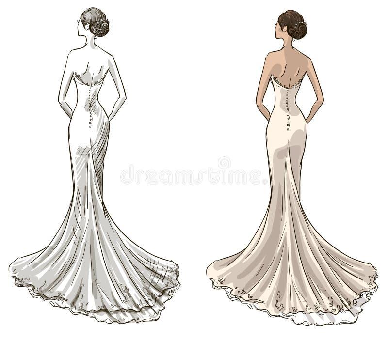 Novia Chica joven hermosa en un vestido de boda Vestido largo con una cola libre illustration