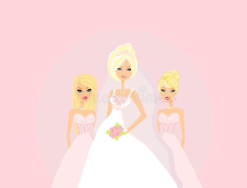 Novia con las damas de honor stock de ilustración
