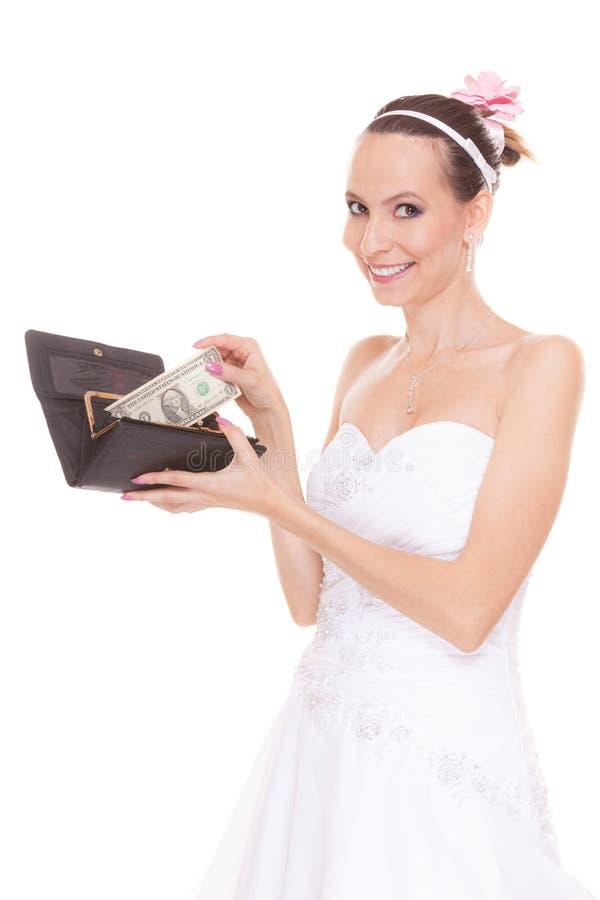 Novia de la mujer con un dólar Costos de la boda imagen de archivo libre de regalías