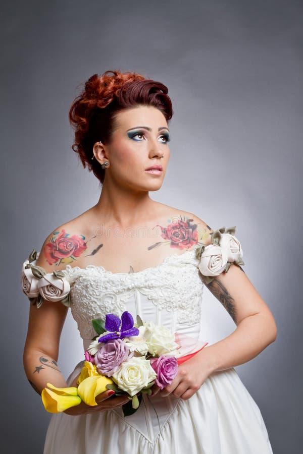 Novia del tatuaje fotos de archivo libres de regalías