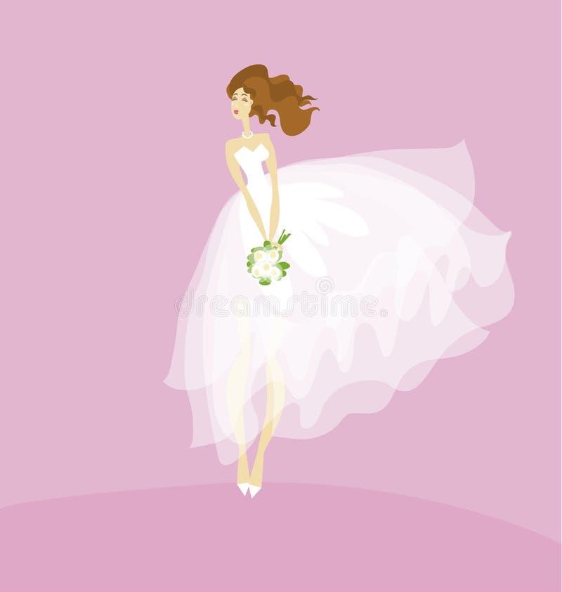 Novia Elegante En El Concepto Blanco Del Vestido Ilustración del ...