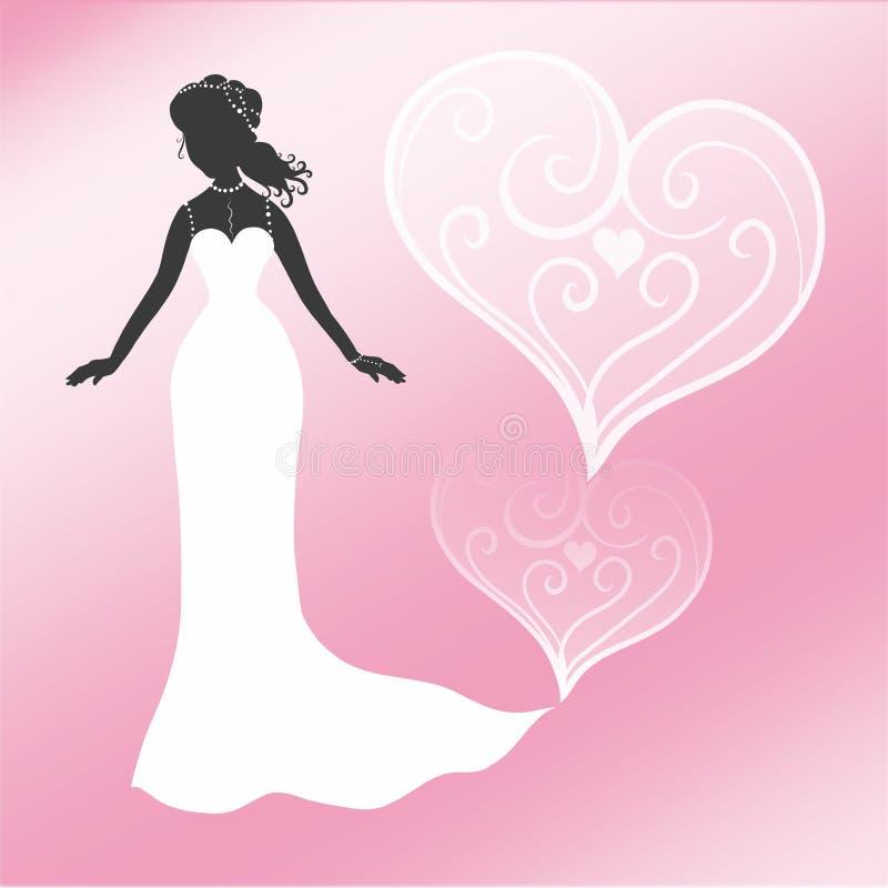 Novia elegante en un fondo rosado con los corazones modelados ilustración del vector