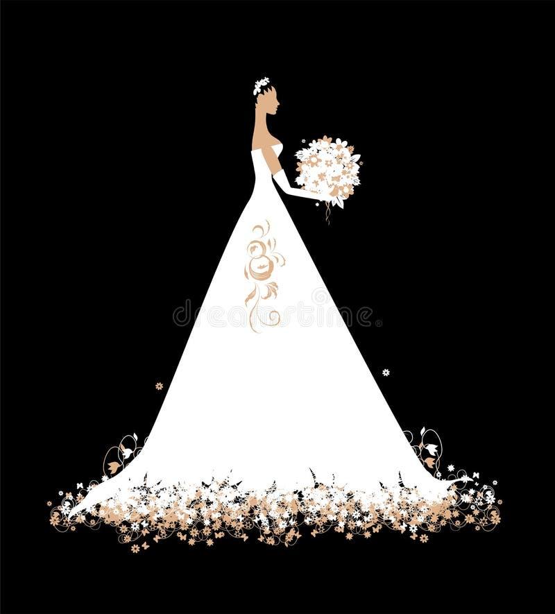 Novia En Blanco De Alineada De Boda Con El Ramo Imagen de archivo libre de regalías