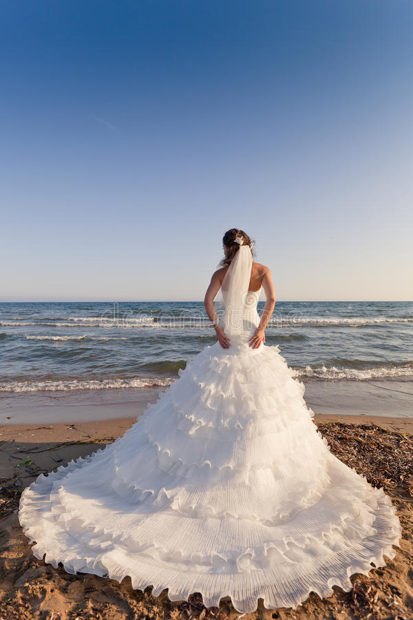 Novia en el backshot de la playa foto de archivo