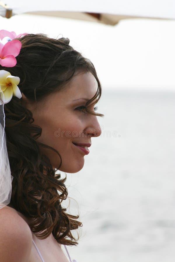 Novia en perfil de la playa fotografía de archivo