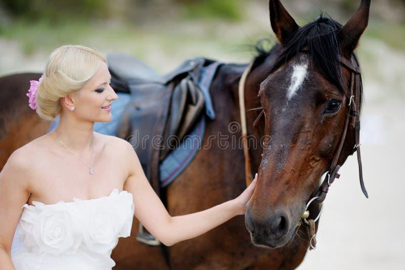 Novia en un caballo por el mar imagen de archivo libre de regalías