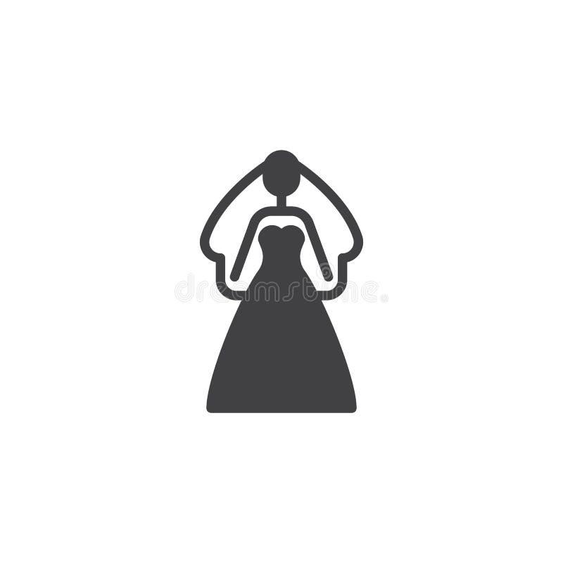 Novia en un icono del vector del vestido que se casa ilustración del vector