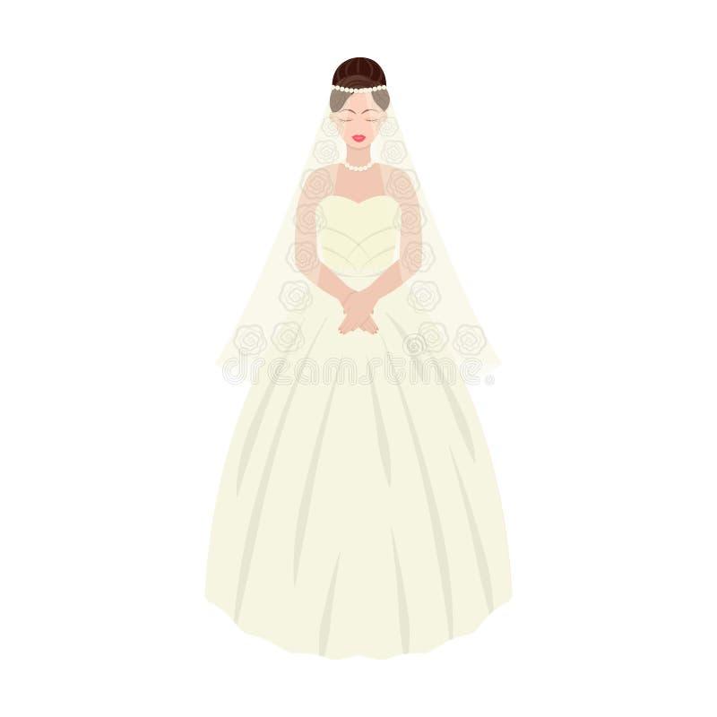 novia en un vestido de boda hermoso Casandose el solo icono en historieta diseñe el ejemplo de la acción del símbolo del vector libre illustration