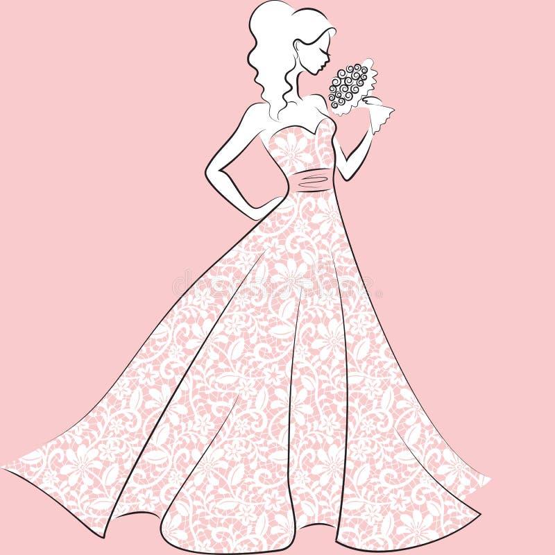 Novia En Vestido De Boda Del Cordón Ilustración del Vector ...
