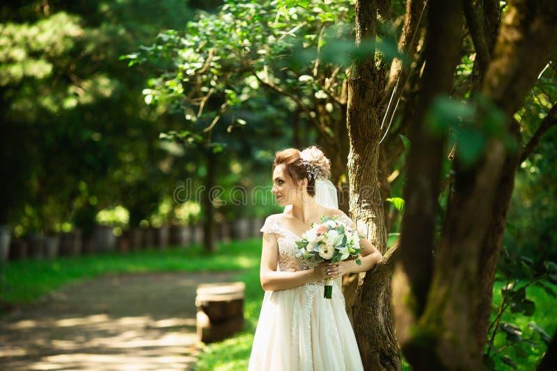 Novia en vestido de boda de la moda en fondo natural Un retrato hermoso de la mujer en el parque imágenes de archivo libres de regalías