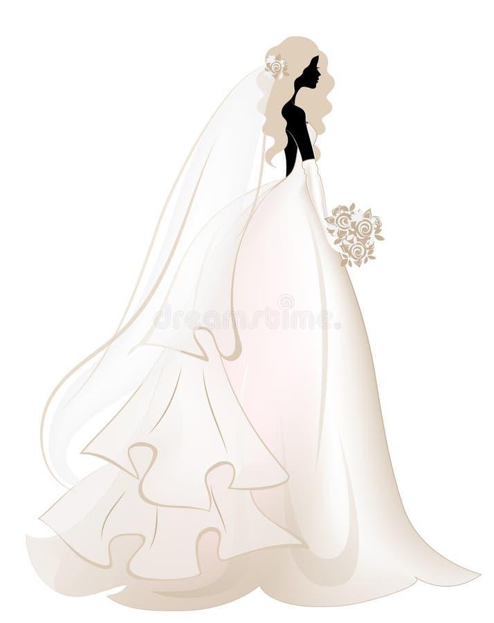 Novia en vestido elegante largo Casarse la moda Diseño de Invintation Silueta 001 de la mujer stock de ilustración