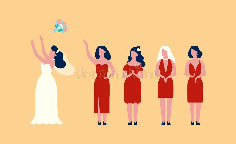 Novia feliz en el ramo que lanza del vestido blanco ilustración del vector