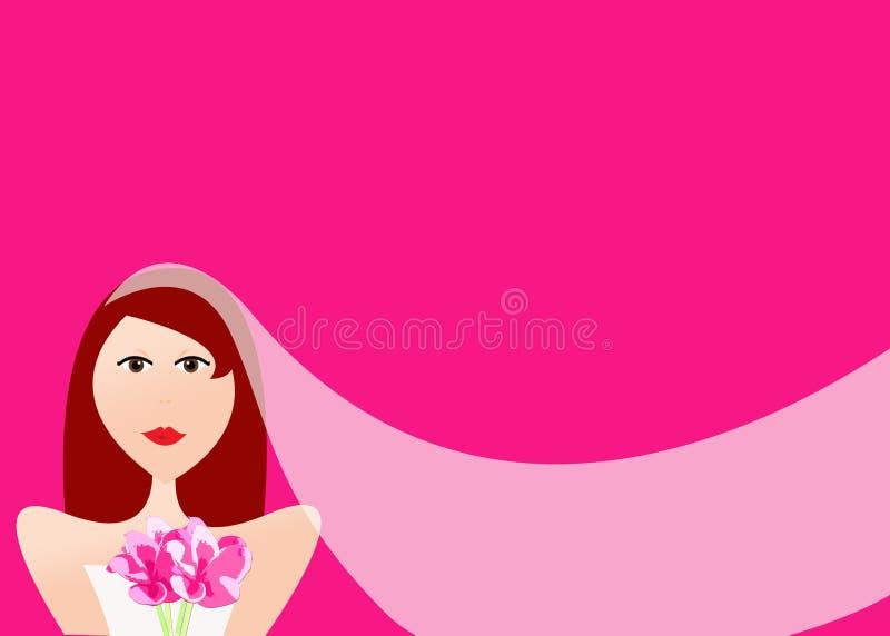 Novia hermosa del redhead con velo y el ramo libre illustration