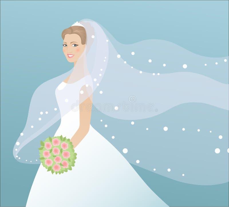 Novia hermosa en alineada ilustración del vector