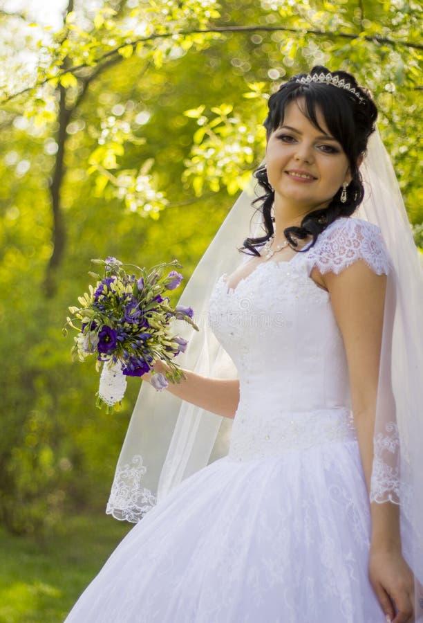 Novia hermosa que presenta en su día de boda imagen de archivo