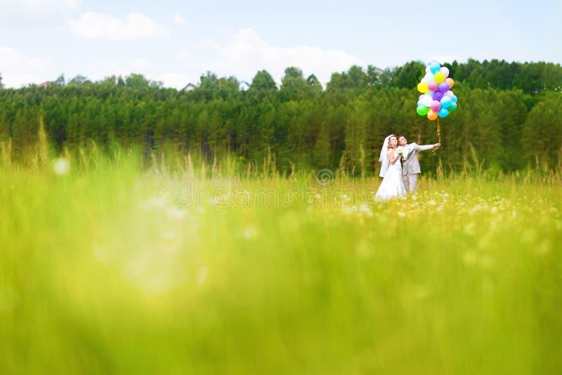 Novia hermosa que sostiene el manojo de globos en el parque Pares de la novia y del novio con los globos Recienes casados con los fotografía de archivo