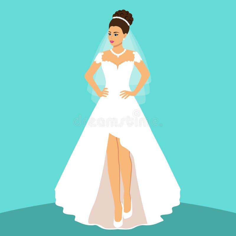 Novia Invitación de boda con la novia en un fondo azul Novia I libre illustration
