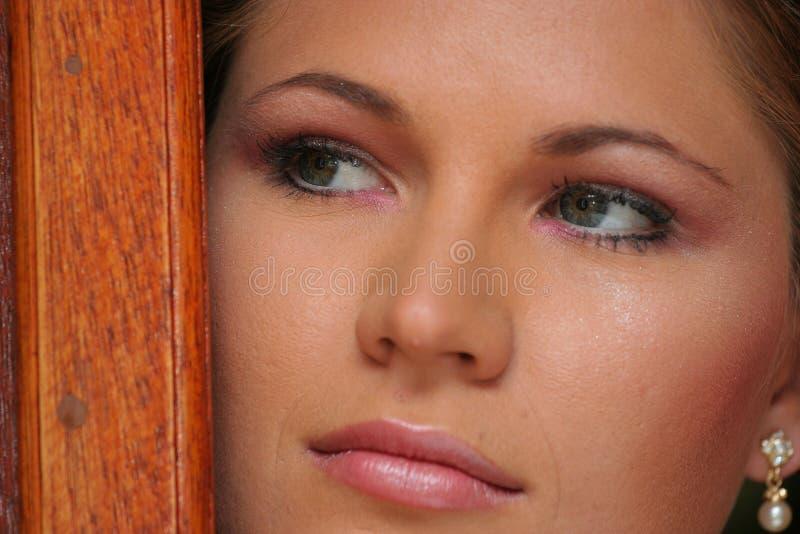 Novia joven, cierre encima de la cara fotos de archivo
