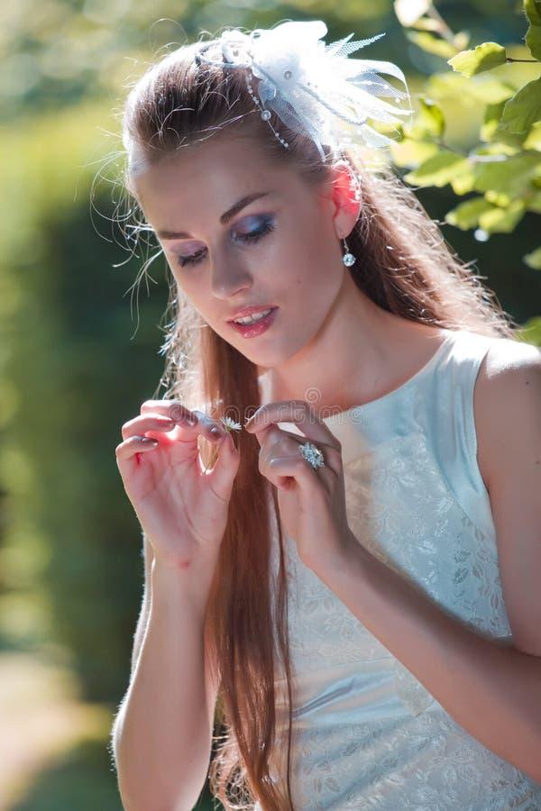 Novia joven con la planta de la margarita fotografía de archivo libre de regalías