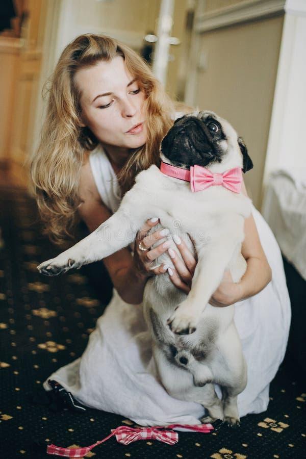 Novia linda que abraza el perro divertido del barro amasado con la corbata de lazo rosada por mañana antes de ceremonia que se ca imagen de archivo