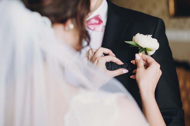 Novia magnífica en el vestido que sorprende que pone en el traje blanco del novio del boutonniere de la peonía Mujer hermosa que  foto de archivo libre de regalías