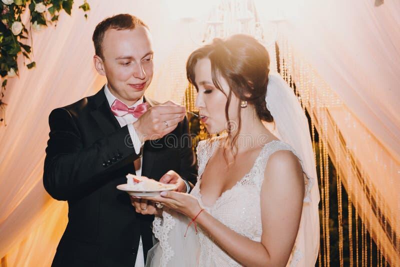 Novia magnífica y pastel de bodas delicioso de la prueba elegante del novio con las fresas frescas en la recepción nupcial en res imagen de archivo libre de regalías