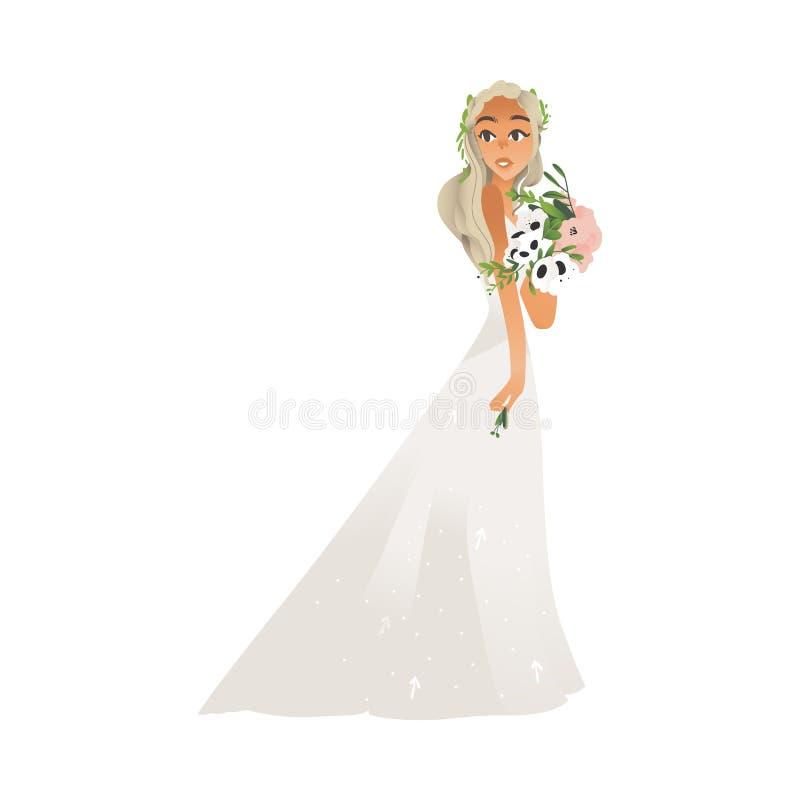 Novia, muchacha y mujer jovenes hermosas en el vestido que se casa blanco en estilo plano de la historieta ilustración del vector