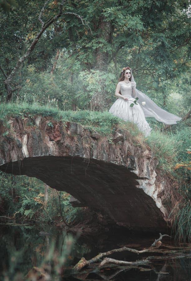 Novia muerta espeluznante en el puente Escena de Víspera de Todos los Santos foto de archivo