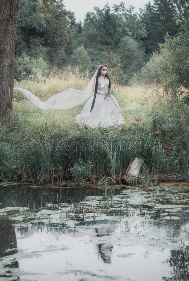 Novia muerta espeluznante en la escena de Halloween del bosque imagen de archivo libre de regalías