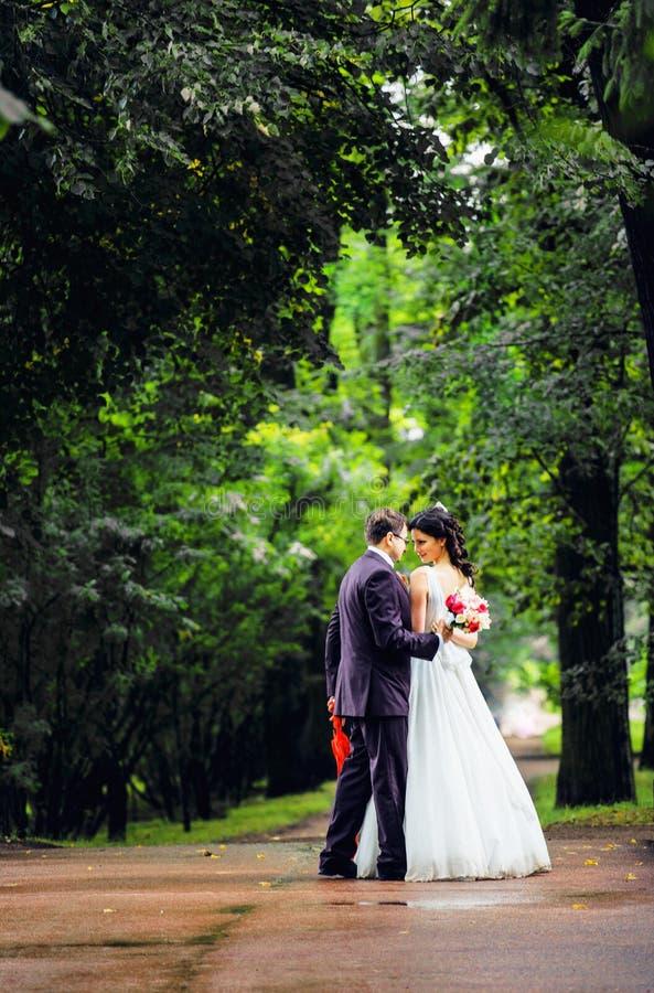 Novia muy hermosa con el novio que abraza y que baila en par verde fotos de archivo libres de regalías